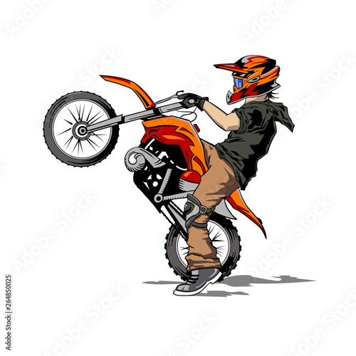 Obraz na plátně Motorcycle racer, hand drawing illustration, motocross.