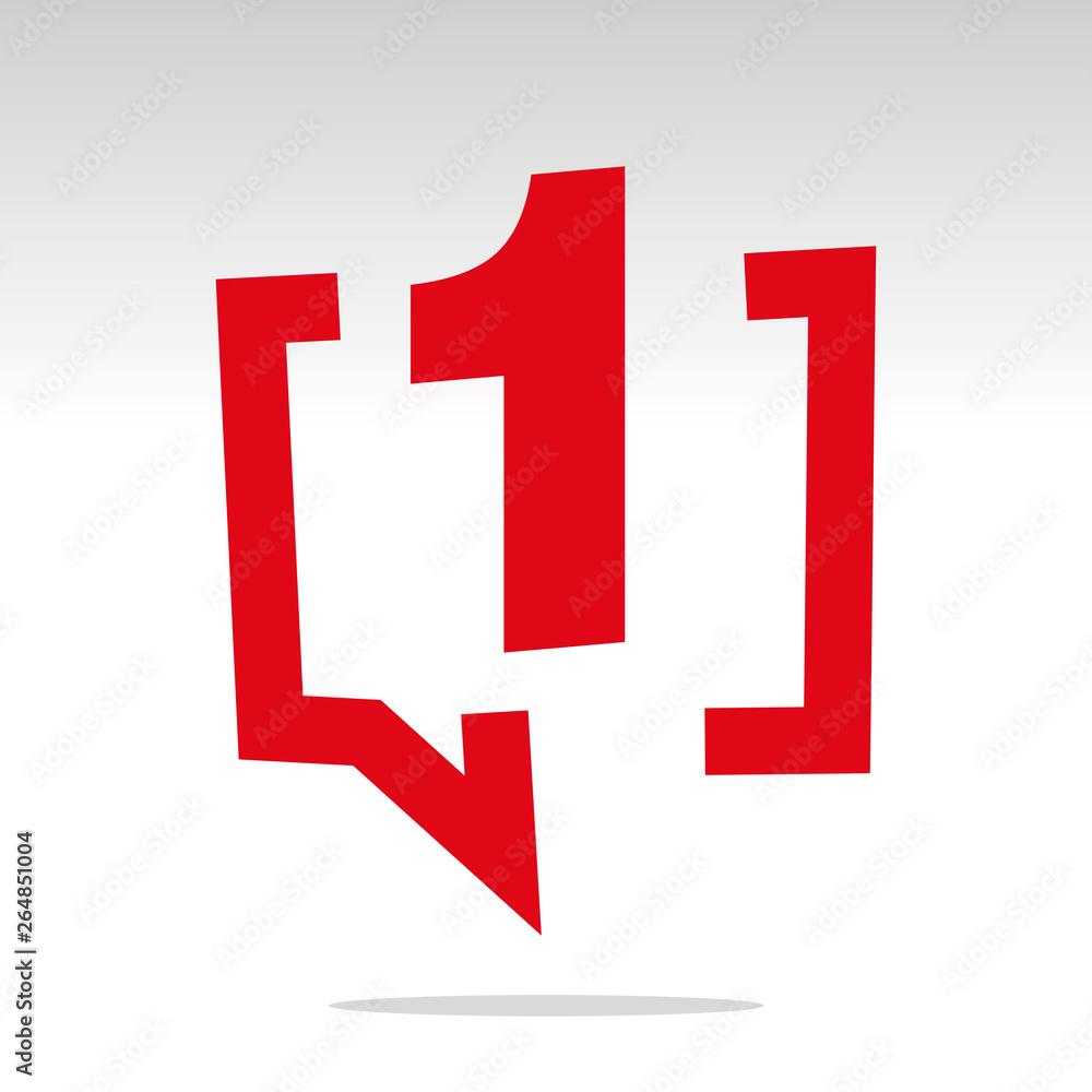 Fototapeta Number one 1 red speech brackets isolated logo icon sticker element