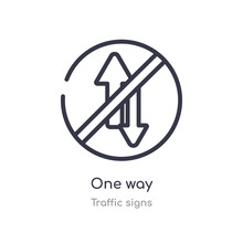 One Way Outline Icon. Isolated Line Vector Illustration From Traffic Signs Collection. Editable Thin Stroke One Way Icon On White Background