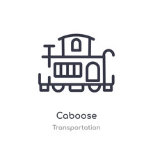 Caboose Outline Icon. Isolated Line Vector Illustration From Transportation Collection. Editable Thin Stroke Caboose Icon On White Background