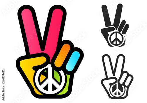 Hand and peace symbol Fototapet