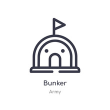 Bunker Outline Icon. Isolated Line Vector Illustration From Army Collection. Editable Thin Stroke Bunker Icon On White Background