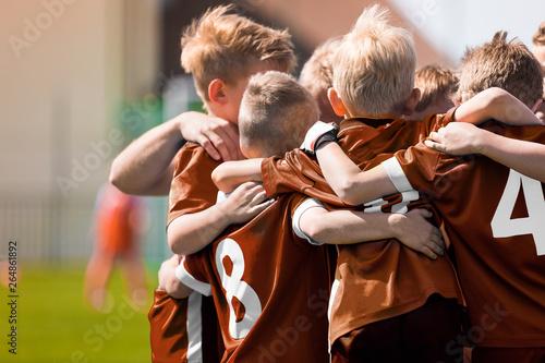 Fototapety, obrazy: Children Sports Soccer Team. Kids Celebrating Football Victory. Winning Youth Boys Soccer Team
