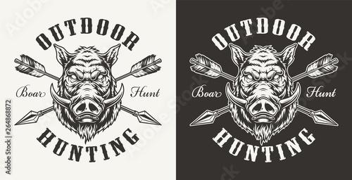 Obraz na plátně Vintage boar hunting label