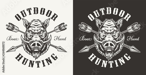 Canvas Vintage boar hunting label