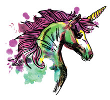 Unicorn. Drawing By Hand In Vintage Style. Texture Watercolor Paint. Children's Drawing. Spray Paint Drops.
