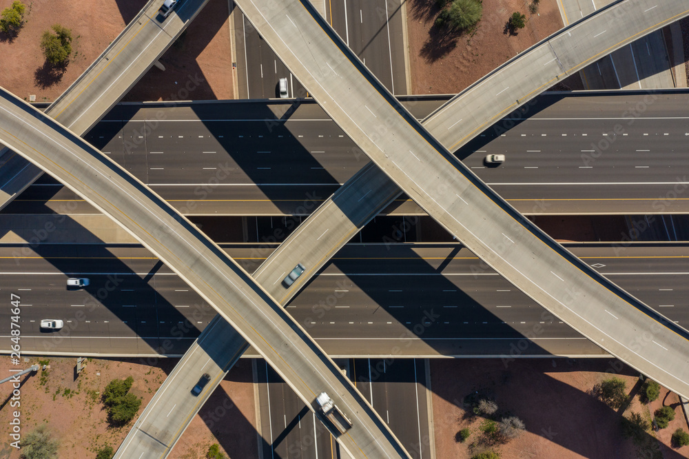 Fototapety, obrazy: Aerial drone photo of a highway interchange
