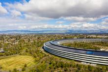 Aerial Drone Photo Apple Park Cupertino CA