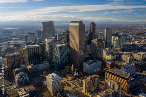 Fototapety, obrazy: Aerial photo Downtown Denver CO and State Capitol area city landscape