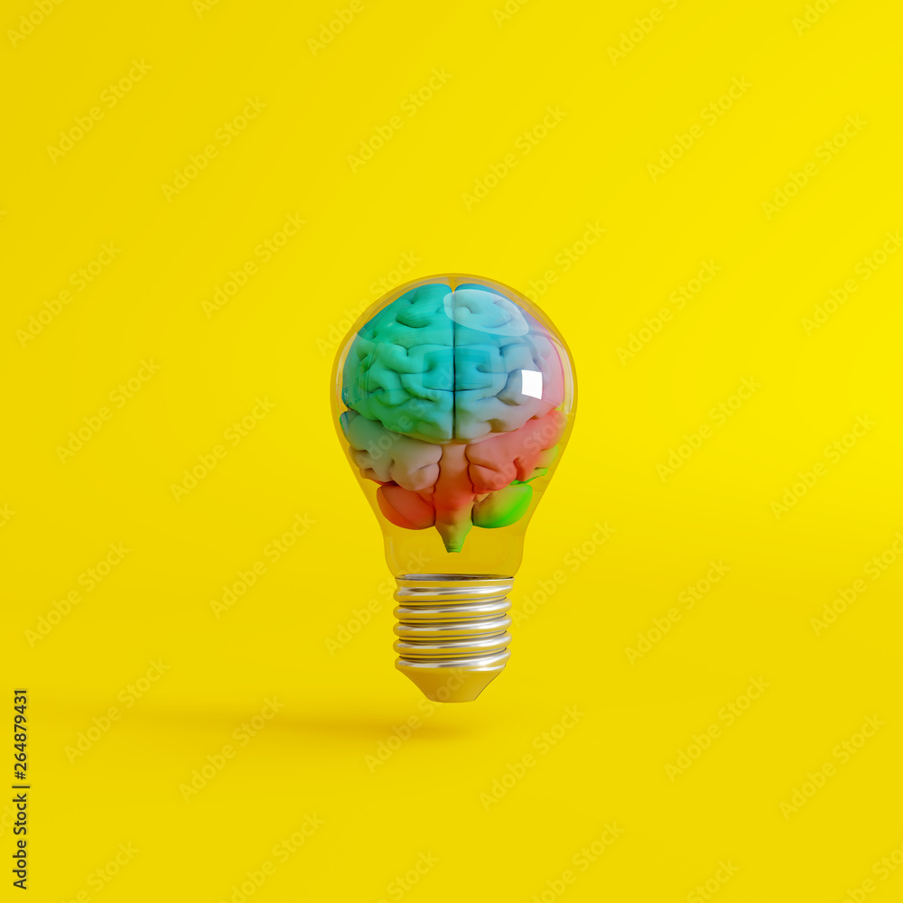 Fototapeta Colorful brain with a lightbulb on yellow background. Creative idea concept. 3d rendering