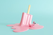 Pink stick ice cream melting with flamingo float on pastel blue background. Creative idea minimal summer concept. 3d rendering