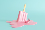 Pink stick ice cream melting with flamingo float on pastel blue background. Creative idea minimal summer concept. 3d rendering - 264879439