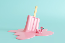 Pink Stick Ice Cream Melting W...