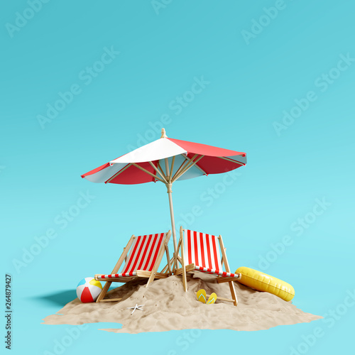 Fototapeta Beach umbrella with chairs and sand on pastel blue background