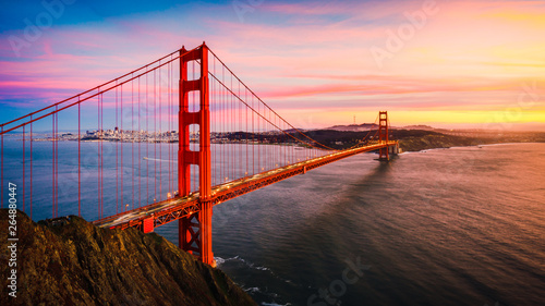 Spoed Fotobehang Bruggen The Golden Gate Bridge at Sunset, San Francisco , CA
