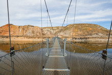 The Star Mine Suspension Bridge Is A 117 Metre Long Pedestrian Suspension Bridge Across The Red Deer River In Drumheller, Alberta, Canada. Constructed In 1931,Travel Alberta