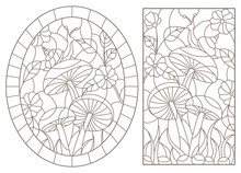 Set Contour Illustrations In The Stained Glass Style Snail On Mushroom, Dark Outline On A White Background