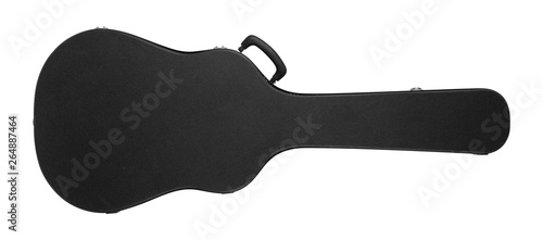 Musical instrument - Black acoustic guitar hard case. Isolated Canvas Print