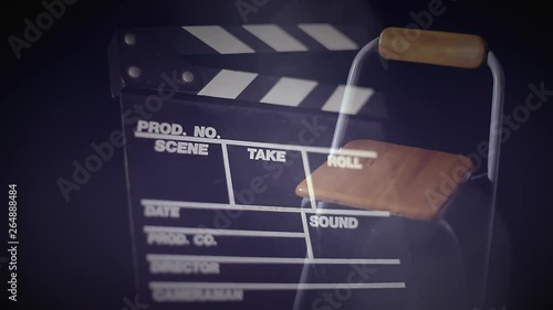 Casting Auditions   Clapboard with audition chair composite and shimmering light