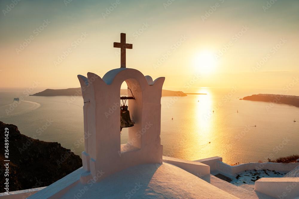 Fototapety, obrazy: Traditional greek church at sunset on Santorini island, Greece