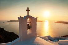 Traditional Greek Church At Sunset On Santorini Island, Greece