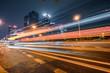 vehicle light trails at city road, shenzhen, china