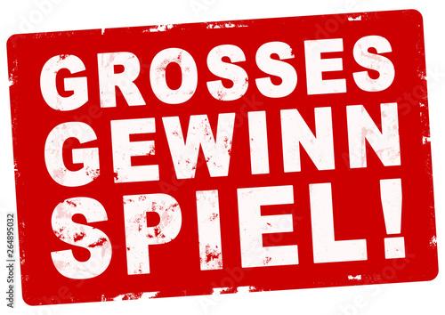 nlsb299 NewLongStampBanner nlsb - Stempel: Grosses Gewinnspiel! - einfach / rot Canvas Print