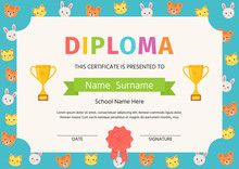 Kid Diploma, Certificate. Vector. Preschool, Kindergarten, School Template Graduation Background. Winner Blank With Trophy Cups And Award Ribbon. Cute Layout Design. Cartoon Playful Illustration.