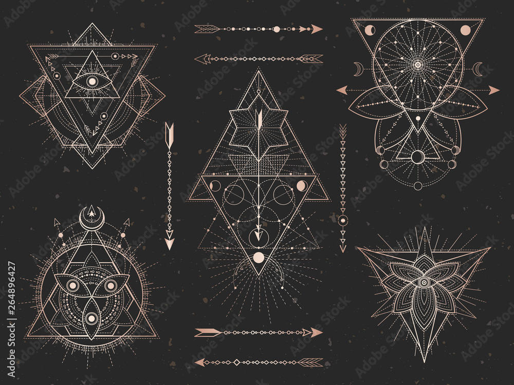 Fototapeta Vector set of Sacred triangle symbols and mystic figures on black grunge background. Gold abstract signs collection.