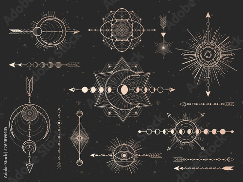 Leinwand Poster Vector set of Sacred symbols arrows, moon and eye on black grunge background