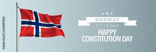 Fotografía  Norway happy constitution day greeting card, banner vector illustration