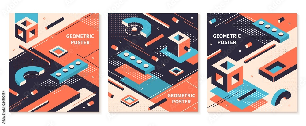 Fototapeta Isometric shapes poster. 3D abstract geometric brochures, futuristic technology backgrounds. Vector isometric graphical colors cover set