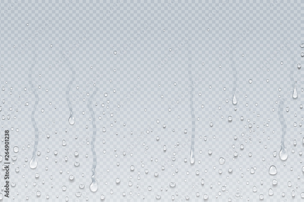 Fototapety, obrazy: Water drops background. Shower steam condensation drips on transparent glass, rain drops on window. Vector realistic shower water drops