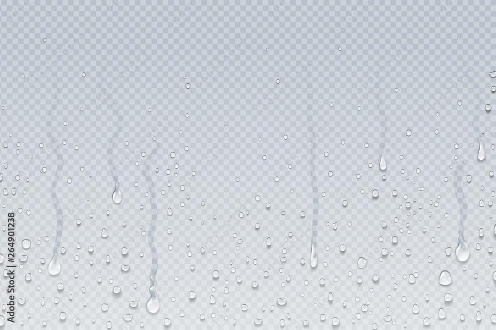 Fototapeta Water drops background. Shower steam condensation drips on transparent glass, rain drops on window. Vector realistic shower water drops