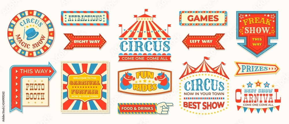 Fototapeta Circus labels. Carnival retro banner signs, vintage magic frames and arrows elements, welcome the show greetings. Vector circus signs logo collection