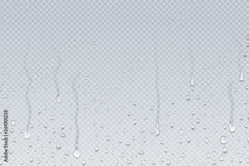 Obraz Water drops background. Shower steam condensation drips on transparent glass, rain drops on window. Vector realistic shower water drops - fototapety do salonu