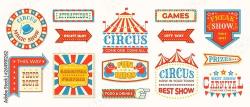 Fototapeta Circus labels. Carnival retro banner signs, vintage magic frames and arrows elements, welcome the show greetings. Vector circus signs logo collection obraz