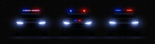 Realistic Police Headlights. Car Glowing Led Light Effect, Rare And Front Siren Flare, Red And Blue Police Light. Vector Illustration 3d Set