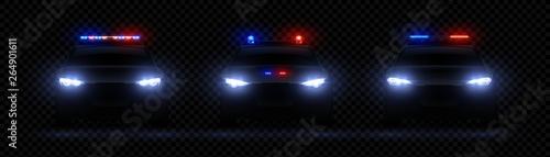 Realistic police headlights Fotobehang