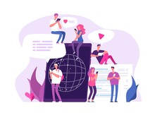 People Online Chatting. Global Connections Media Chat Discussion Networking Communication Friend Chat Forum Marketing Vector Concept. Chat Communication Online People, Internet Network Illustration