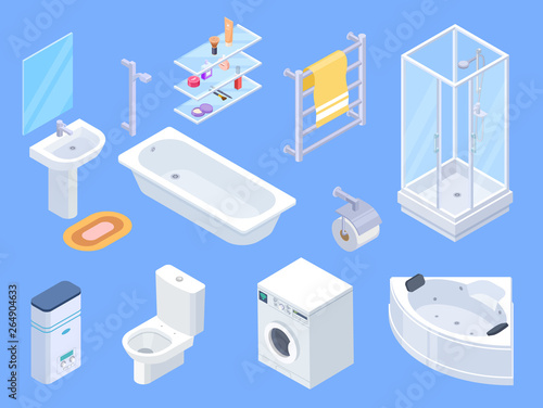 Cuadros en Lienzo Bathroom isometric