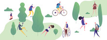 People Walk And Relax In The Park, Outdoor Activities Vector Illustration. People Walk And Activity In Park, Sport And Bike