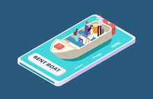 Rent A Boat Mobile App Isometr...