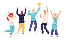 Winner Team. Leader Champion With Gold Trophy Cup And Happy Excited Employees Celebrate Win. Successful Teamwork Vector Concept. Illustration Of Winner Trophy Team, Teamwork Achievement Win