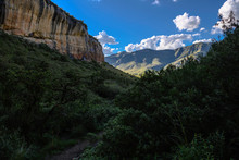 Sandstone Cliffs With The Distant Maluti Mountains In The Background Golden Gate National Park In South Africa Freestate.