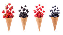 In The Foreground, Lively Variety Of Berries In Ice Cream Cones, Isolated From The White Background