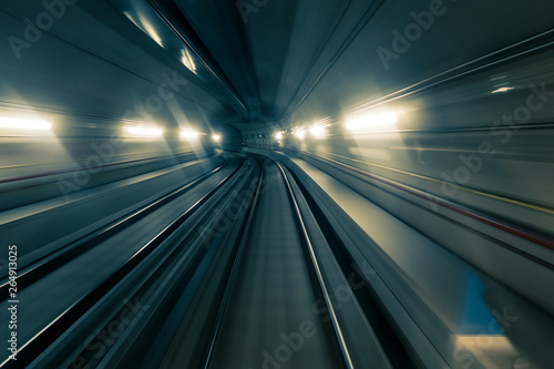 Wall Murals Tunnel Motion blurred shot taken from a front car train running inside a tunnel