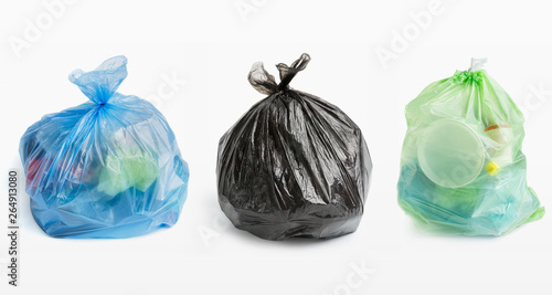 Fototapety, obrazy: Three full garbage bags in row