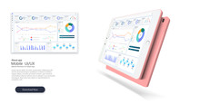 Web Site Template. Infographic Dashboard Template With Flat Design Graphs And Charts. Processing And Analysis Of Data. Financial Growth.Success Business Symbol. Business Dashboard. Financial Diagram