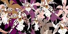 Brindled Orchids On A Purple Background. Trendy Floral Seamless Pattern. Hand-drawn Vector Illustratio